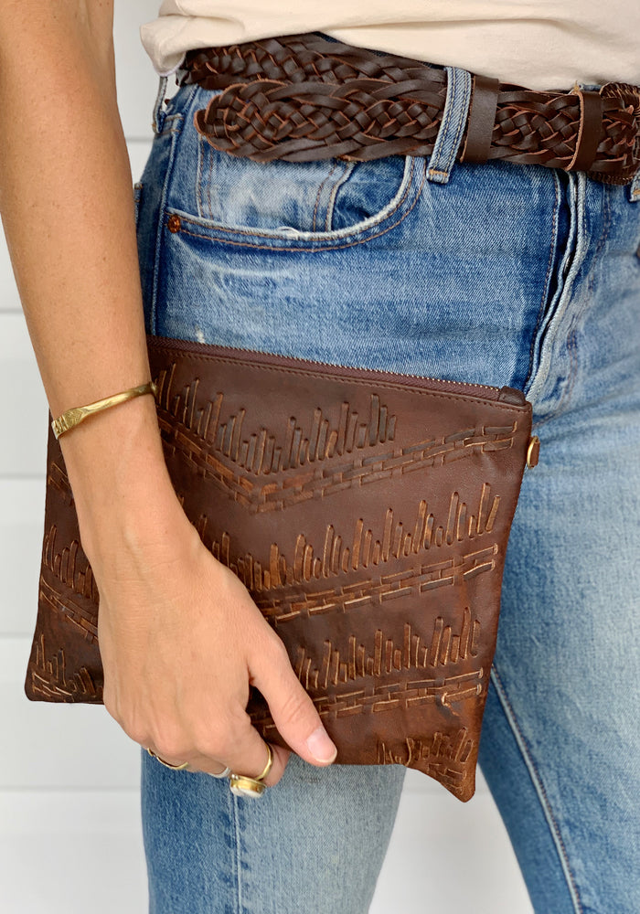 cabo gypsy pavillion leather clutch