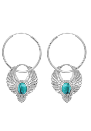 SHOP THE NOMAD COLLECTIVE Sacred Winged Earrings - Silver turquoise