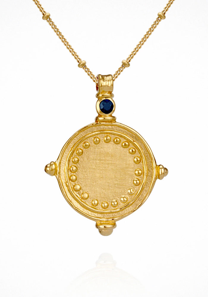 Temple of the Sun Sura Necklace - Gold sapphire