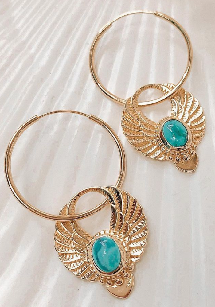SHOP THE NOMAD COLLECTIVE Sacred Winged Earrings - Gold Turquoise