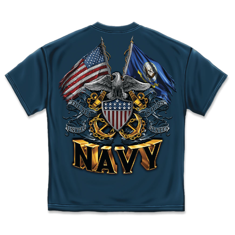 Navy Double Eagle Flag Shield T-Shirt