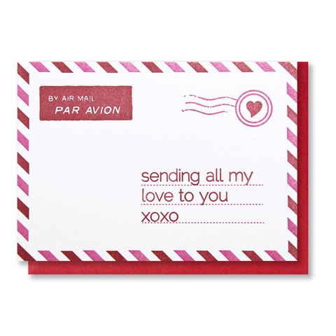 Airmail Love Miss You | Sending All My Love to You Letterpress Card | kiss and punch - Kiss and Punch