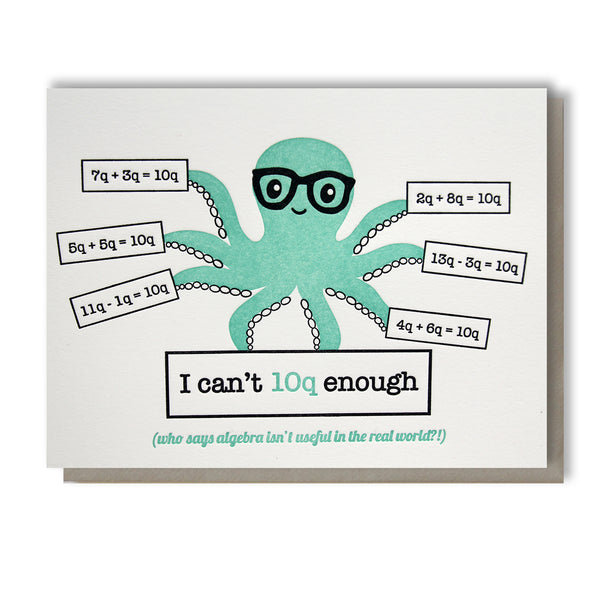 Funny Thank You Letterpress Card | Algebra Octopus | I Can't 10Q Enough |  kiss and punch - Kiss and Punch