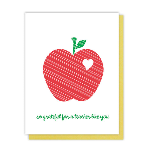 Teacher Thank You Letterpress Card | So Grateful for a Teacher Like You | kiss and punch - Kiss and Punch