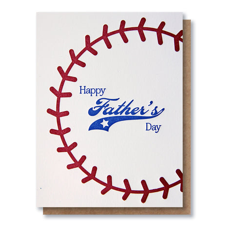 Baseball Stitching Father's Day Letterpress Card
