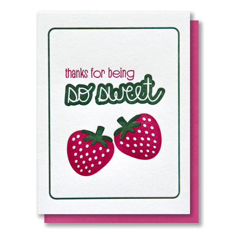 Berry Strawberry So Sweet Thanks Letterpress Card | kiss and punch - Kiss and Punch