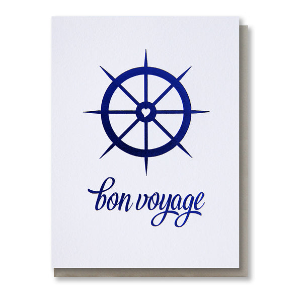Nautical Bon Voyage | Royal Blue Foil Goodbye Retirement Card | kiss and punch - Kiss and Punch