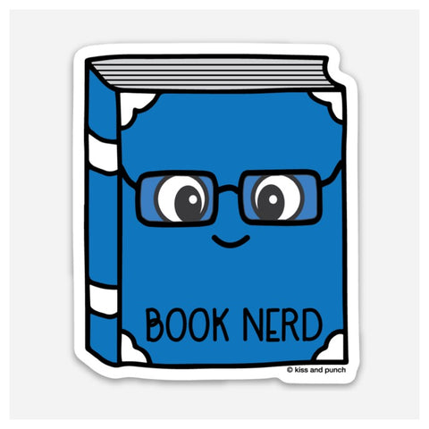 3 Inch Book Nerd Vinyl Sticker - Kiss and Punch