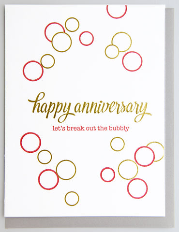 Bubbly Anniversary Letterpress and Foil Card - Kiss and Punch