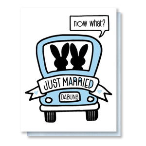 Funny Wedding Letterpress Card | Bunny Couple | Honeymoon | kiss and punch