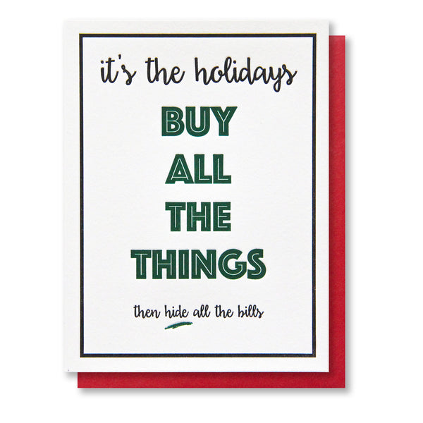 Funny Snarky Buy All the Things Holiday Letterpress Card | kiss and punch