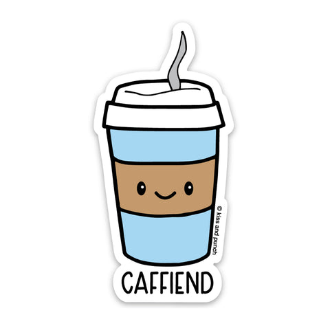 NEW! 3 Inch Coffee Caffiend Pun Vinyl Sticker - Laptop Sticker - Water Bottle Sticker