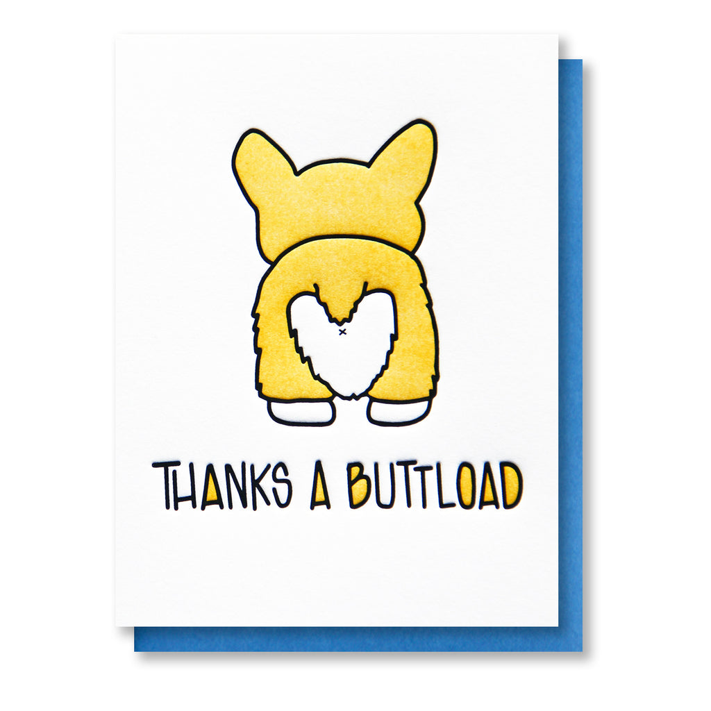 thanks a buttload corgi dog butt funny thank you letterpress card kiss and