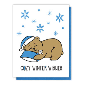 Cute Cozy Winter Wishes Holiday Letterpress Card | Hibernating Bear | kiss and punch