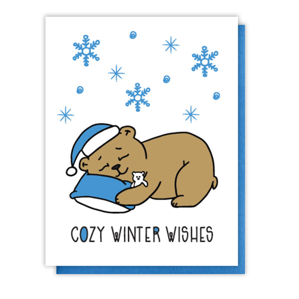 Cute Cozy Winter Wishes Holiday Letterpress Card | Hibernating Bear | kiss and punch - Kiss and Punch