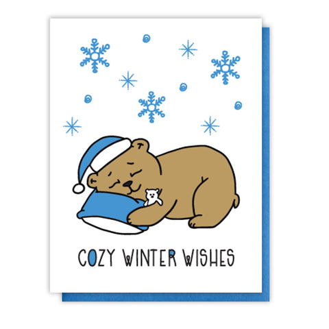 NEW! Cute Cozy Winter Wishes Holiday Letterpress Card | Hibernating Bear | kiss and punch - Kiss and Punch