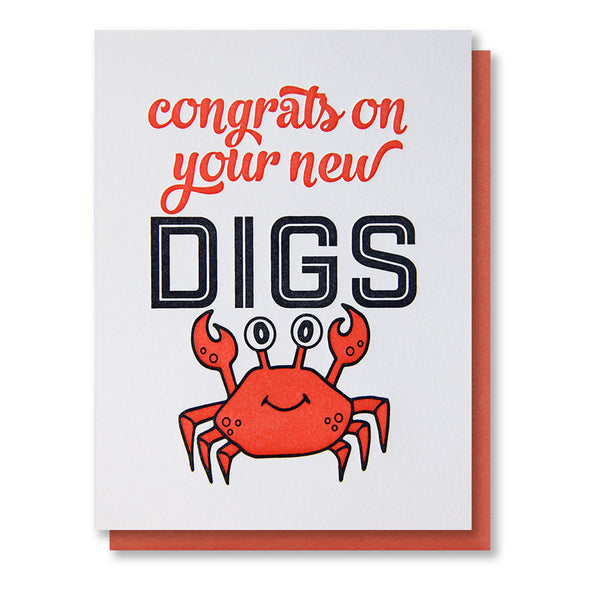 Crab Congrats on New Digs Letterpress Card