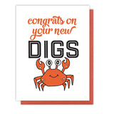 Crab Digs New Home Congratulations Letterpress Card | kiss and punch - Kiss and Punch