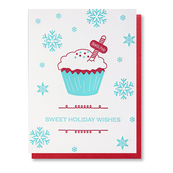 North Pole Cupcake Holiday Letterpress Card - Kiss and Punch