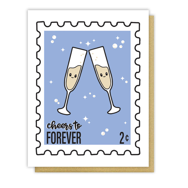 NEW! Anniversary Wedding Cheers to Forever Stamp Letterpress Card