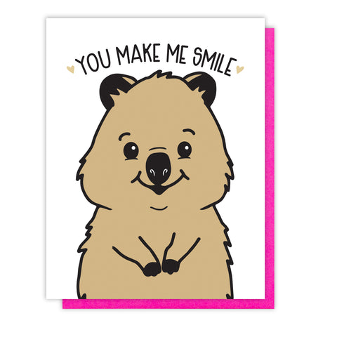 NEW! Quokka Love Letterpress Card | You Make Me Smile | Valentine's Day | kiss and punch