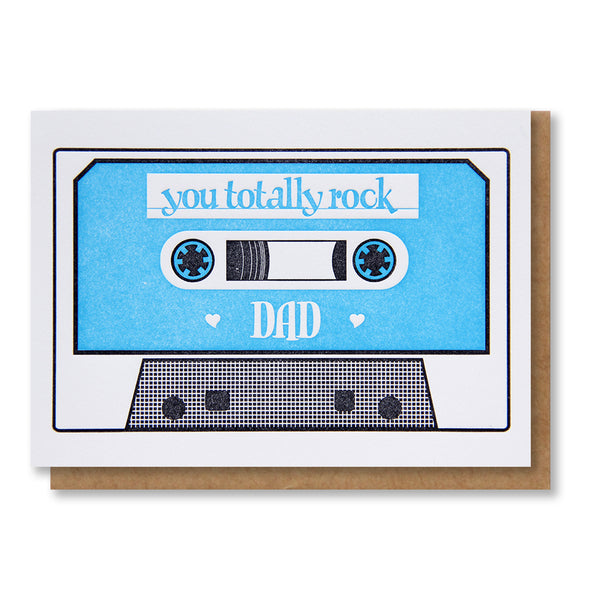 Old School Dad Cassette Tape Letterpress Card | kiss and punch - Kiss and Punch