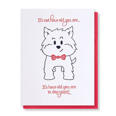 Snarky Dog Year Birthday Letterpress Card - Kiss and Punch