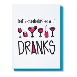 Funny Congrats Birthday Bachelorette Letterpress Card | Drinks Dranks | Celebration | kiss and punch