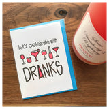 NEW! Funny Illustrated Drinks Dranks | Bachelorette Party Birthday Congratulations Celebration Letterpress Card | Handlettering | kiss and punch