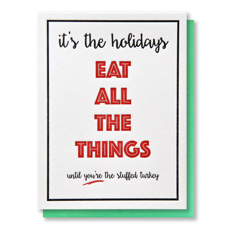 Funny Snarky Christmas | Eat All the Things Holiday Letterpress Card | kiss and punch
