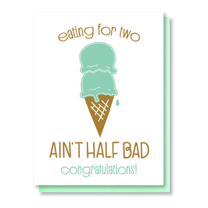 Funny Pregnancy Letterpress Card | Eating for Two | Ice Cream Scoops | kiss and punch