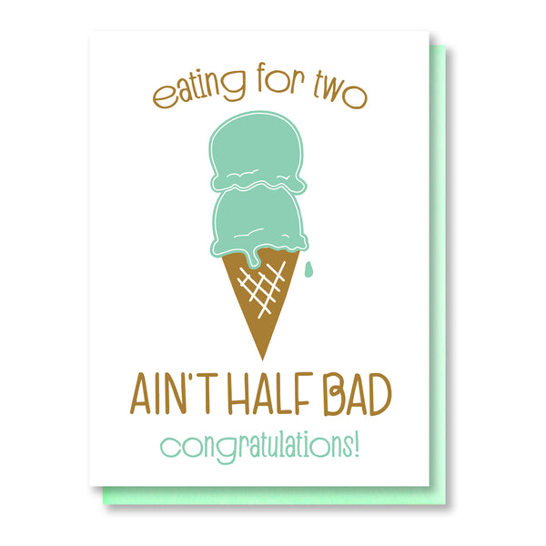 Funny Pregnancy Letterpress Card | Eating for Two | Ice Cream Scoops | kiss and punch - Kiss and Punch