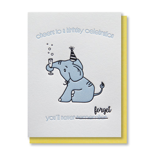 Funny Snarky Elephant Drinking Champagne Birthday Letterpress Card | kiss and punch