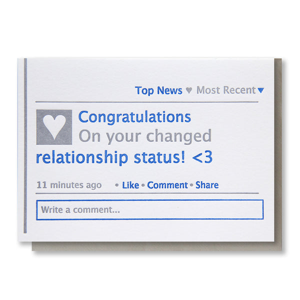 Funny Facebook Status Congratulations Letterpress Card | kiss and punch