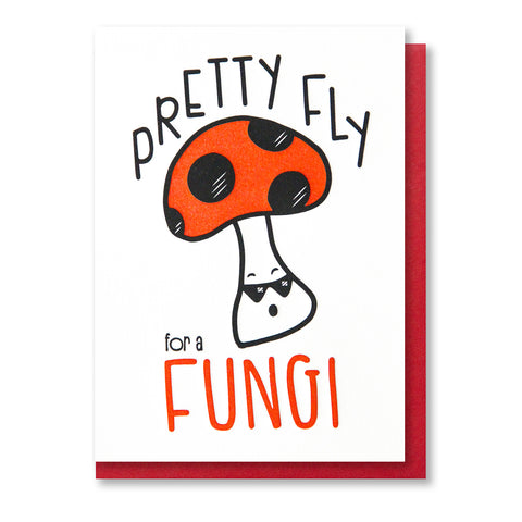NEW! Pretty Fly for a Fungi Pun Letterpress Card | kiss and punch