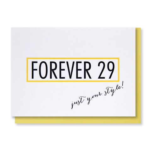 Funny Parody Forever 29 Letterpress Card | kiss and punch - Kiss and Punch