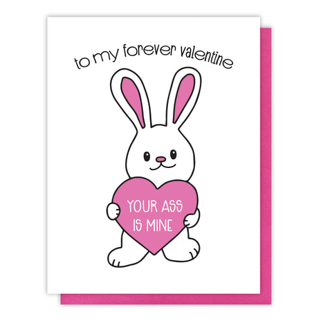 NEW! Funny Valentine Letterpress Card | Forever Valentine | Bunny | You're Mine | kiss and punch - Kiss and Punch
