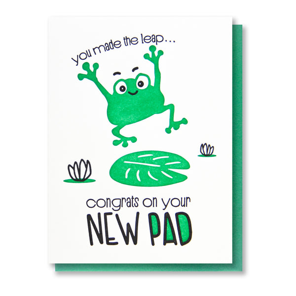 Funny New House Letterpress Card | Housewarming New Pad Leaping Frog | kiss and punch - Kiss and Punch