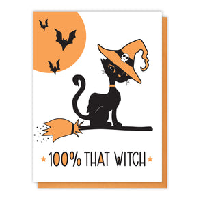 NEW! Funny Halloween Letterpress Card | 100% That Witch Cat | kiss and punch