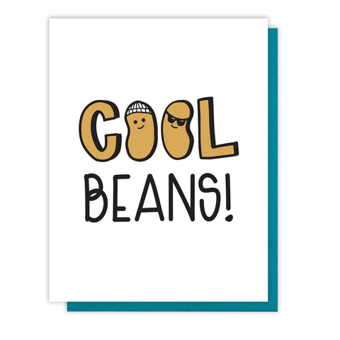 NEW! Funny Cool Beans | Congratulations Letterpress Card | kiss and punch
