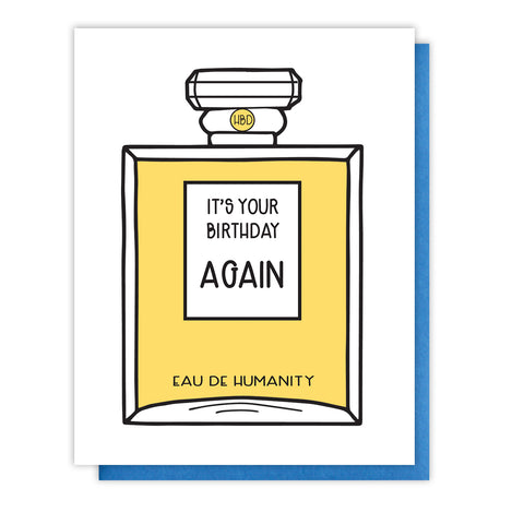 NEW! Funny Snarky Punny Perfume Birthday Letterpress Card | Eau de Humanity | kiss and punch