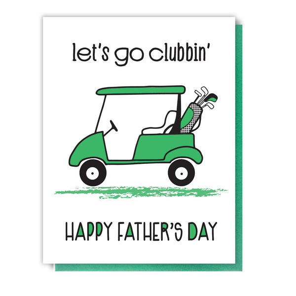NEW! Golf Cart Dad | Happy Father's Day Letterpress Card | kiss and punch - Kiss and Punch