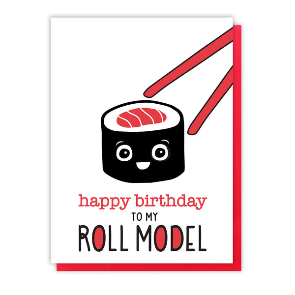 Funny Sushi Letterpress Birthday Card | Roll Model | Pun | kiss and punch - Kiss and Punch