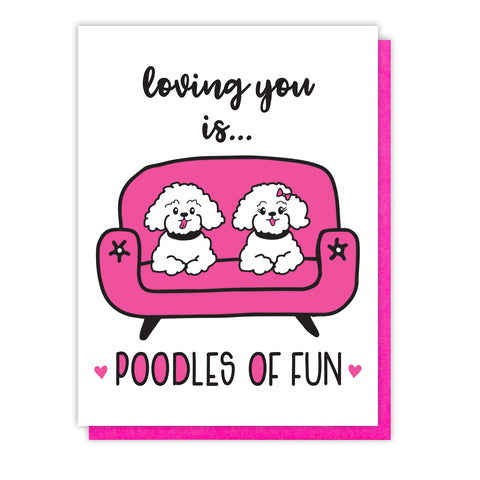 NEW! Funny Love Letterpress Card | Poodle Dog Pun | Valentine's Day | kiss and punch - Kiss and Punch