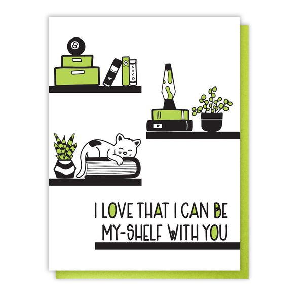 NEW! Punny Love Letterpress Card | Be My-Shelf With You | Valentine's Day | kiss and punch