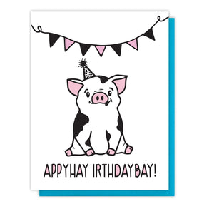 NEW! Funny Birthday Pig Latin Letterpress Card | kiss and punch