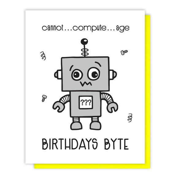 NEW! Funny Snarky Letterpress Birthday Card | Broken Robot Byte | kiss and punch - Kiss and Punch