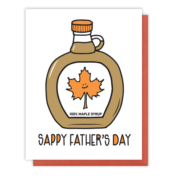 NEW! Funny Father's Day Letterpress Card | Sappy Dad | Maple Syrup | kiss and punch