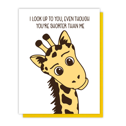 NEW! Look Up to You Giraffe | Mother's Day or Father's Day Letterpress Card | kiss and punch - Kiss and Punch