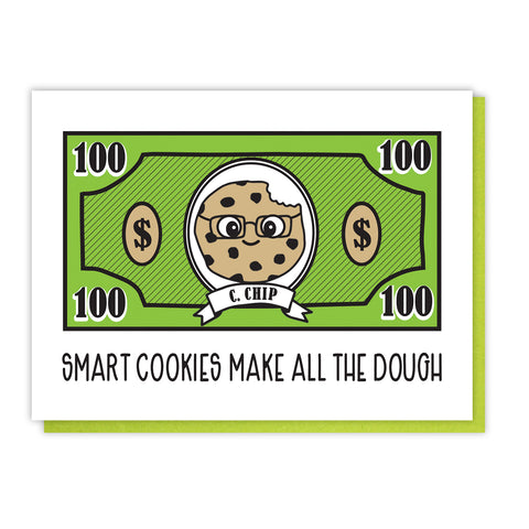 NEW! Funny Graduation Letterpress Card | Smart Cookies Make All the Dough | kiss and punch